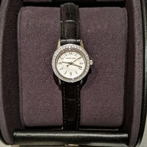 Michael Kors Crystal baguette leather watch